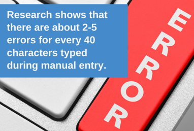 Research shows that there are about 2-5 errors for every 40 characters typed during manual entry. Source_ IDC-1